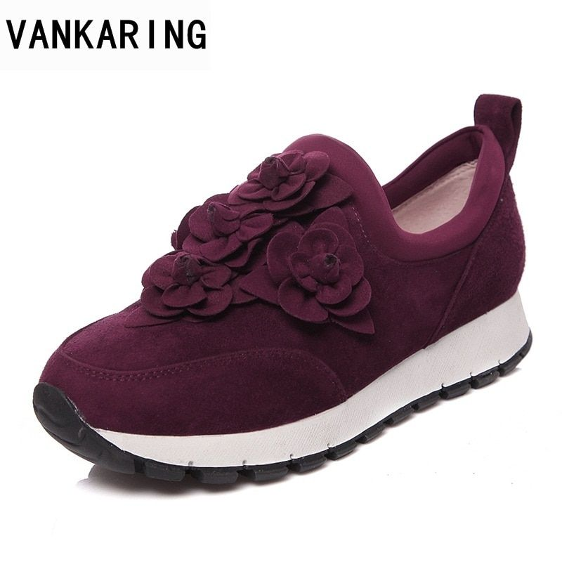VANKARING new fashion women flats shoes genuine leather round toe sweet flowers shoes woman spring summer autumn casual shoes