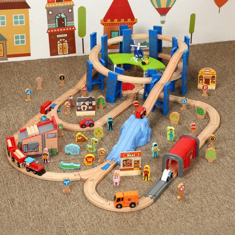 Holz Eisenbahn Track Zubehör Garage Ring Track für Fernbedienung Magnetische Elektrische Zug Rund Gebogene Orbit Spielzeug für Kind