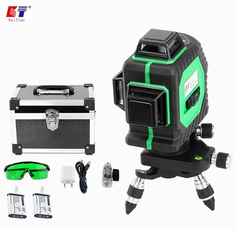 KaiTian 3D Green 12 Lines Laser Level Battery Self-Leveling 360 Horizontal 532nm Vertical Cross Livello Laser x Beam Line Tools