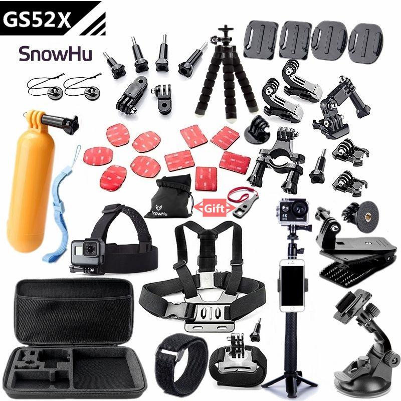 SnowHu Pour accessoires gopro ensemble montage pour go pro hero 7 6 5 4 3 noir pour xiaomi yi 4 K caméra d'action accessoires cas GS52
