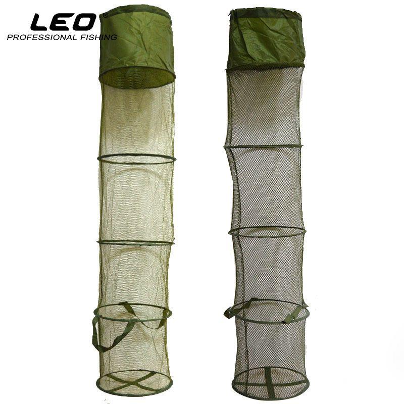 LEO 5 Couches Pliable Panier De Pêche Dip Net De Pêche Cage à Garder les Poissons Vivant dans L'eau 30 cm * 140 cm De Pêche Accessoires outil