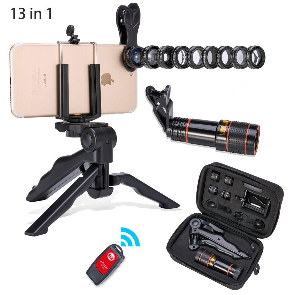 Akinger 4in1 5in1 7in1 10in1 13in1 Téléphone camera Lens Kit Fisheye Grand Angle macro télescope pour iphone xiaomi android téléphone