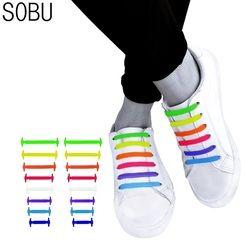 16pcs/lot Shoes Accessories Novelty No Tie Shoelaces Unisex Elastic Silicone Shoelaces Rubber Shoelace N067