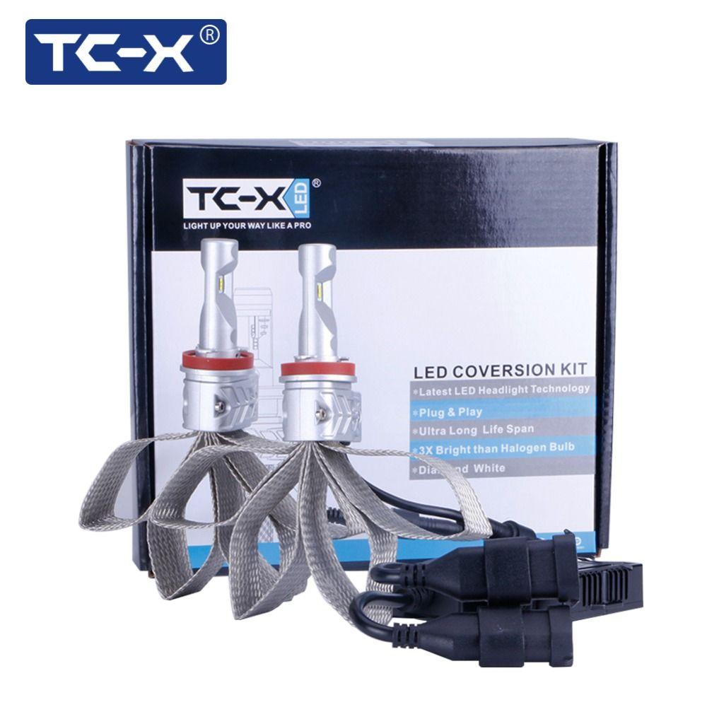 TC-X Car Styling H11 H8 H9 Auto LED Foglight Conversion Kit LED 12v LUXEON ZES Chips H11 LED Bulb Car fog Lamp Replacement 6500K