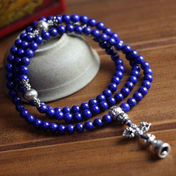 Top Grade 6 MM Lapis Lazuli Echtem Tibetischen Gebet Perlen 108 Perlen Buddhistischen Mala