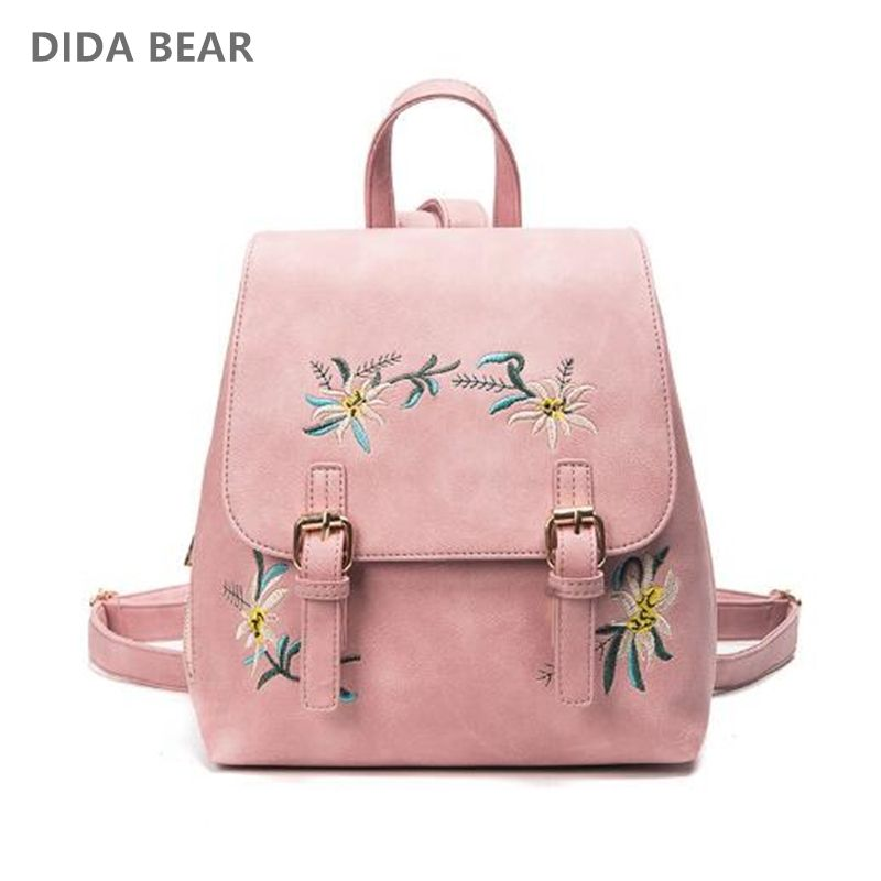 DIDA BEAR Brand Women Leather Backpacks Female School bags for Girls Rucksack Small Floral Embroidery <font><b>Flowers</b></font> Bagpack Mochila