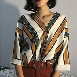 2018 Printemps Automne nouveau mode casual femmes rayures sexy V-cou manches chauve-souris lâche T chemises Élégant Dames T-shirts Tops