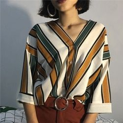 2018  Spring  Autumn  new fashion casual women stripes sexy V-neck batwing sleeve loose T shirts Elegant Ladies Tees Tops