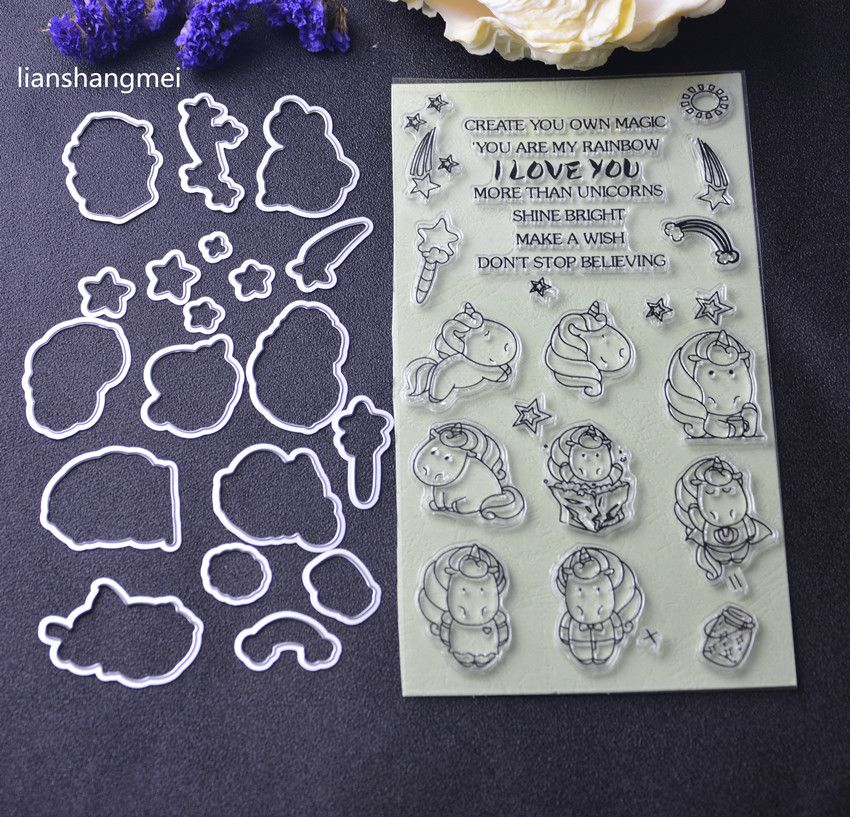 NEW Unicorn Metal Cutting Dies and stamp Stencils for DIY Scrapbooking/photo album Decorative Embossing DIY Paper Cards Making P