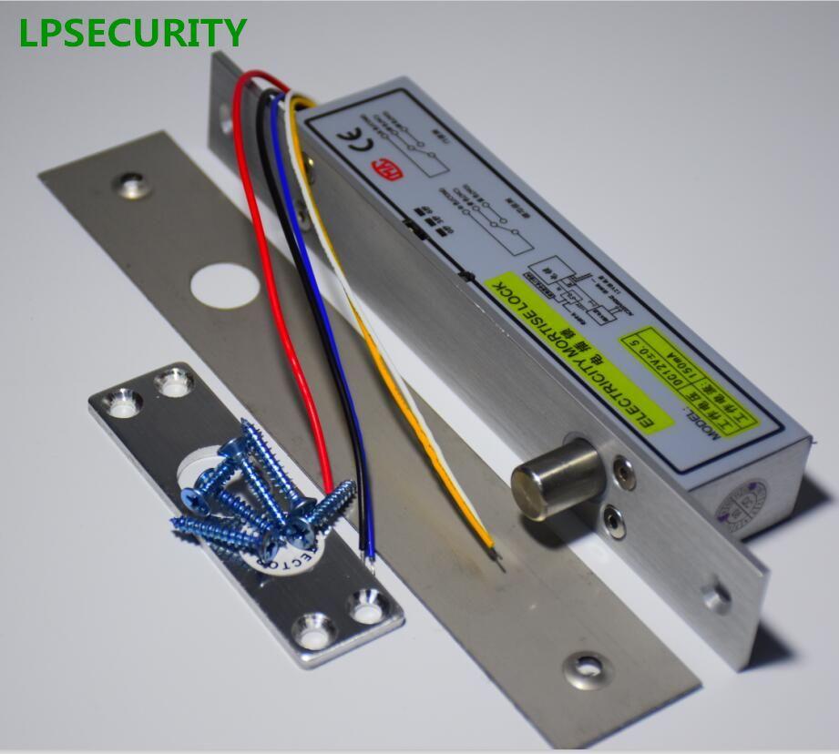 Lpsecurity fail Secure DC12V cerrojo eléctrico gota perno enchufe puerta estrecha bloqueo de acceso 5 hilos temporizador baja temperatura poder de bloqueo off