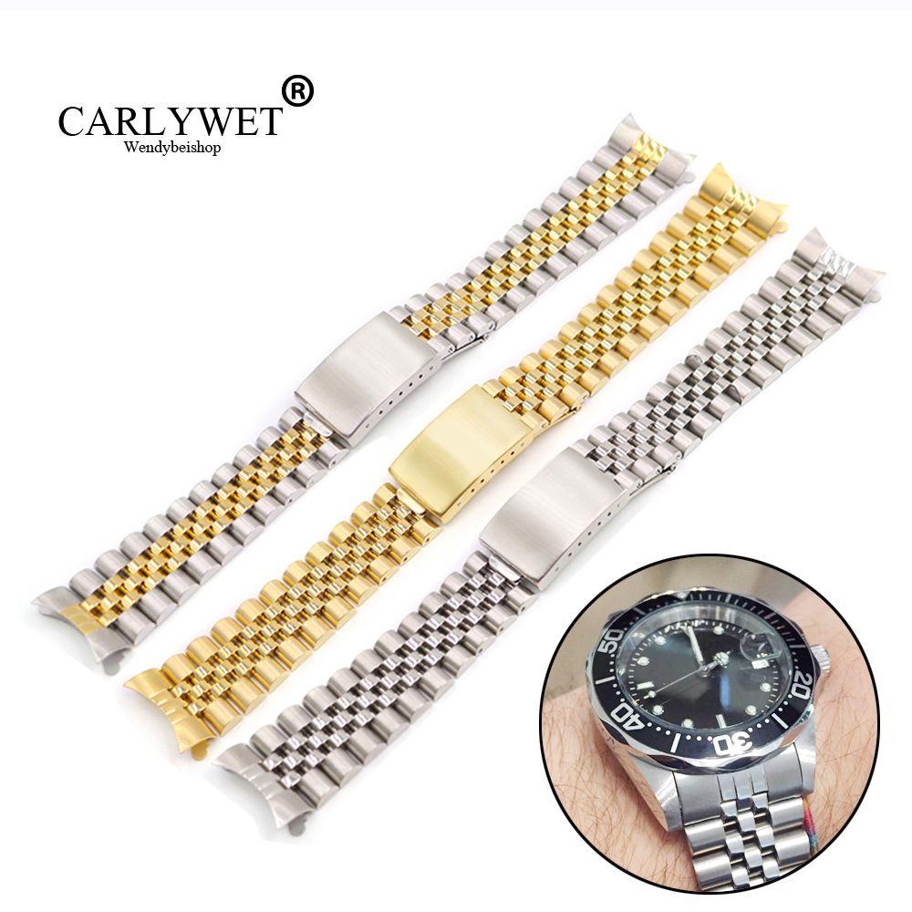 19 20 22mm deux tons creux extrémité incurvée solide vis liens remplacement Bracelet de montre ancien Style VINTAGE jubilé Bracelet pour Datejust