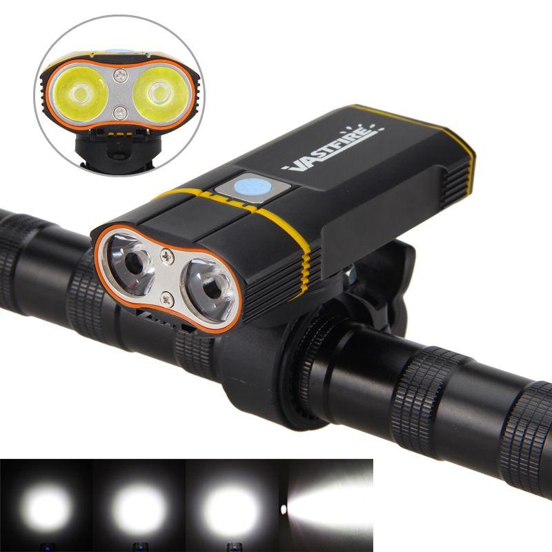 6000LM Front Bike Headlight 2X XM-L2 LED Cycling Light Built-in 6000mAh Rechargeable Battery +Handlebar Mount +USB line