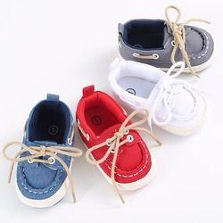 Las muchachas de los bebés Soft Soled cuna zapatos cordones zapatillas de lona primeros caminante 0-12Month