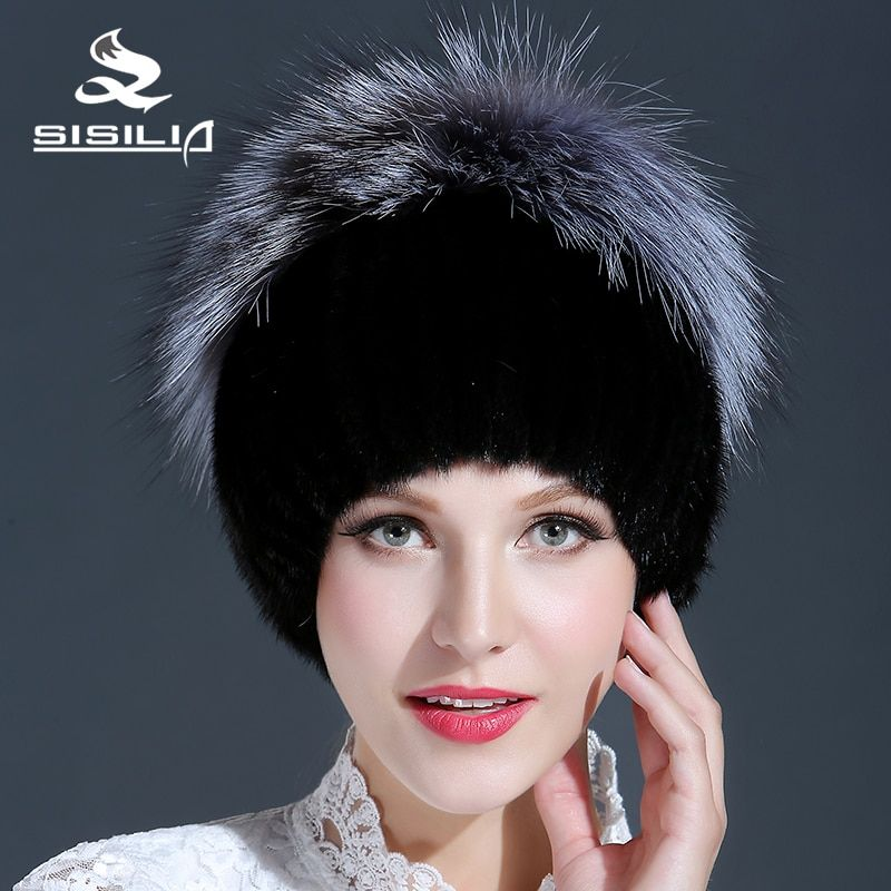 2016 New Black Good Fur Hat With Silver Fox Fur Keep Warm Beanies Cap New Thick Female Cap
