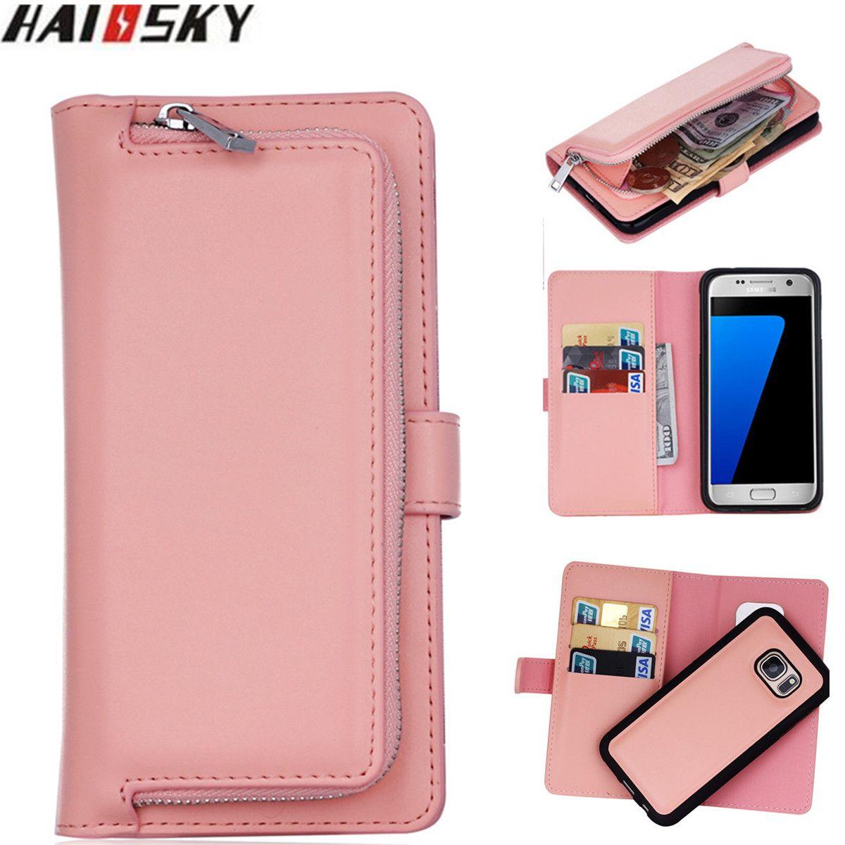 Zipper Portefeuille Cas de Téléphone Pour Samsung Galaxy S9 S8 Plus S7 S6 bord Flip En Cuir Magnétique Cas Pour Samsung S6 s5 Note 9 8 Couverture