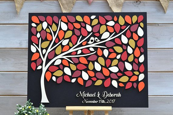 Personalized Wood 3D Wedding Guest Book Alternative,Custom Name Date Wedding Guestbook Sign,Colorful Leaves With Tree And Birds