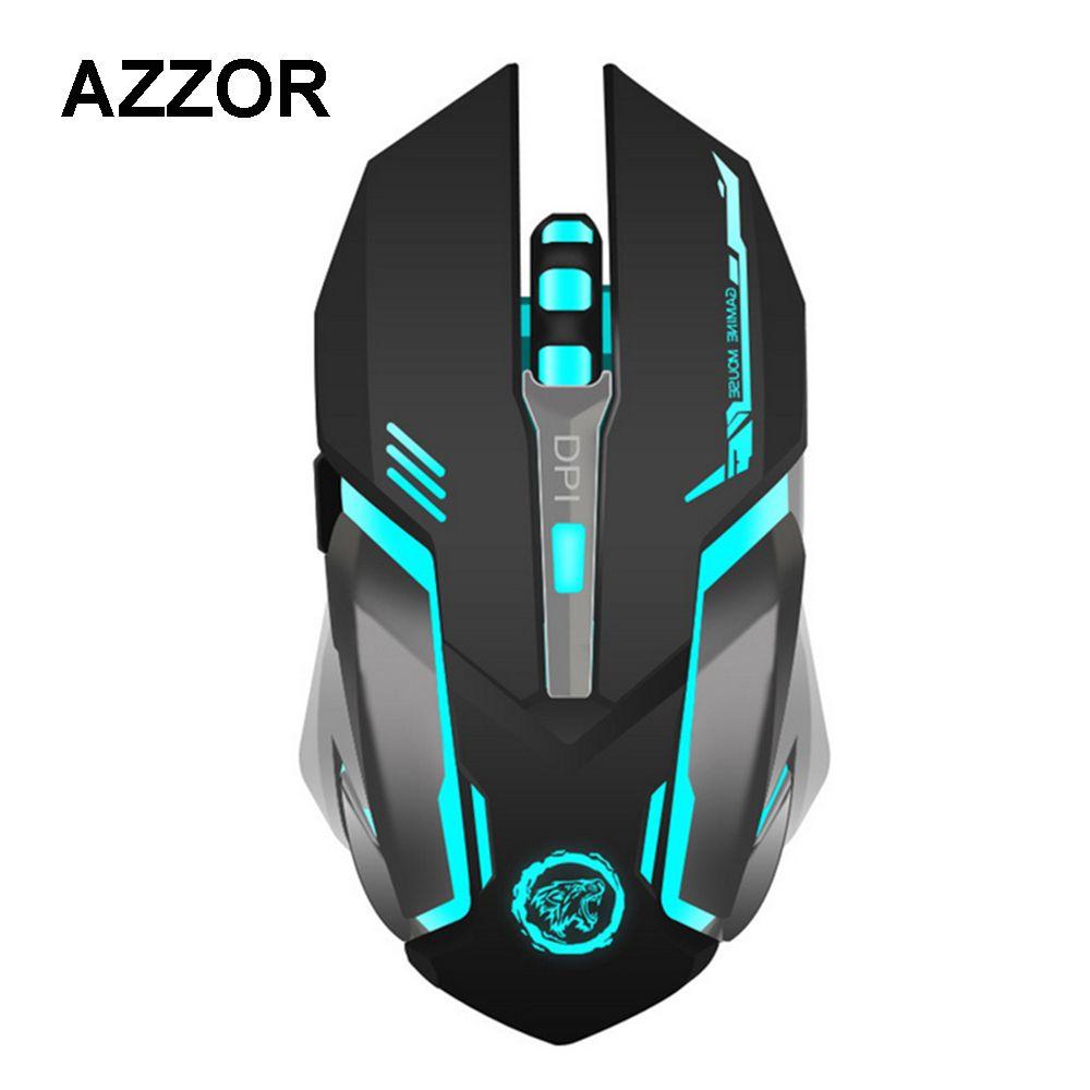 AZZOR Rechargeable Sans Fil Gaming Mouse 7-couleur Rétro-Éclairage Souffle Confort Gamer Souris pour Ordinateur De Bureau Pc Portable PC