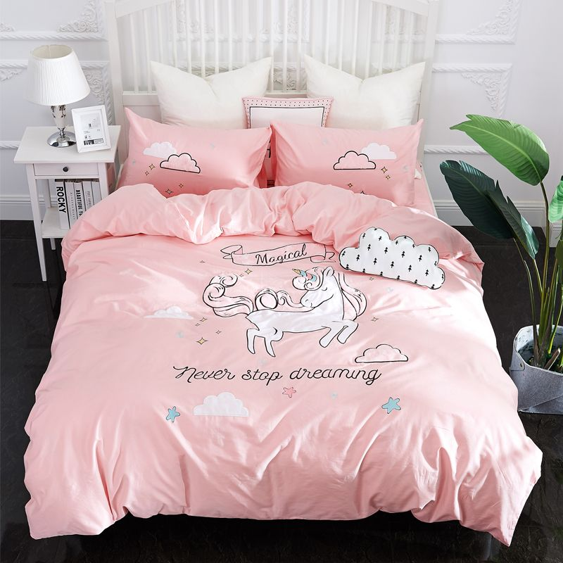 Papa&Mima Pink Unicorn Embroided Bedding Sets 4pcs Double Queen King Size Bedclothes 100%Cotton Bed sheet set Pillowcases