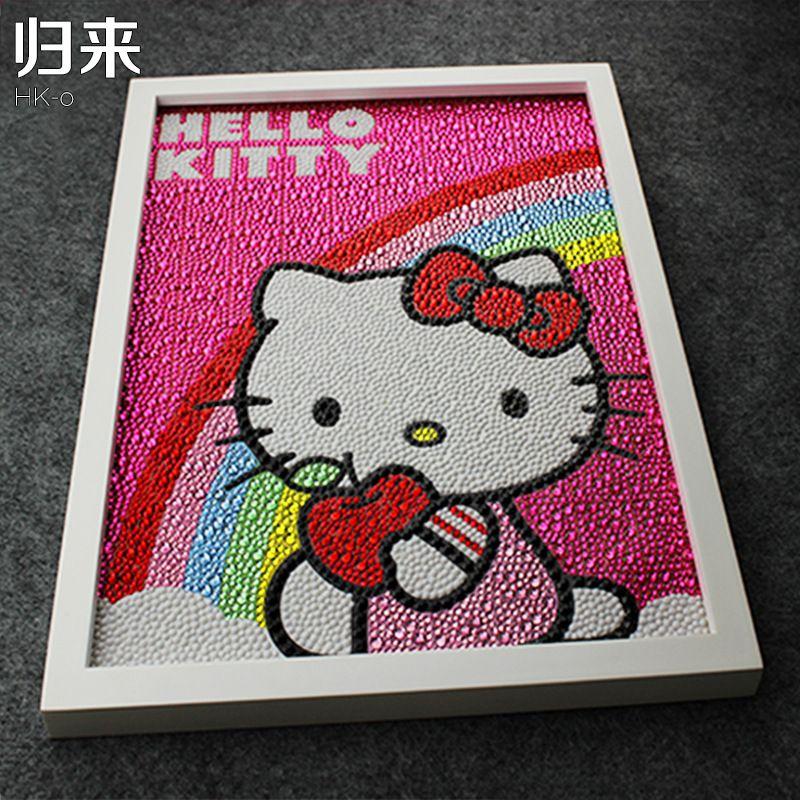 Hello Kitty arc-en-ciel peinture bricolage 5D diamant peinture Hello Kitty broderie complète diamant rond strass 30*40 cm enfants cadeaux