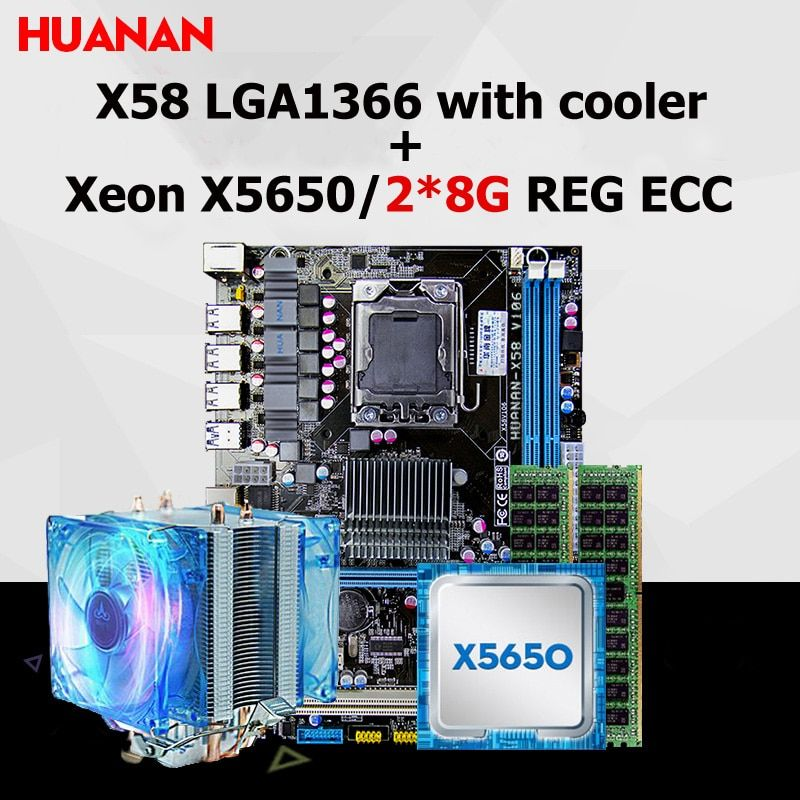 Brand HUANAN X58 motherboard CPU RAM combos with cooler USB3.0 X58 LGA1366 CPU Xeon X5650 RAM 16G(2*8G) DDR3 REG ECC all tested