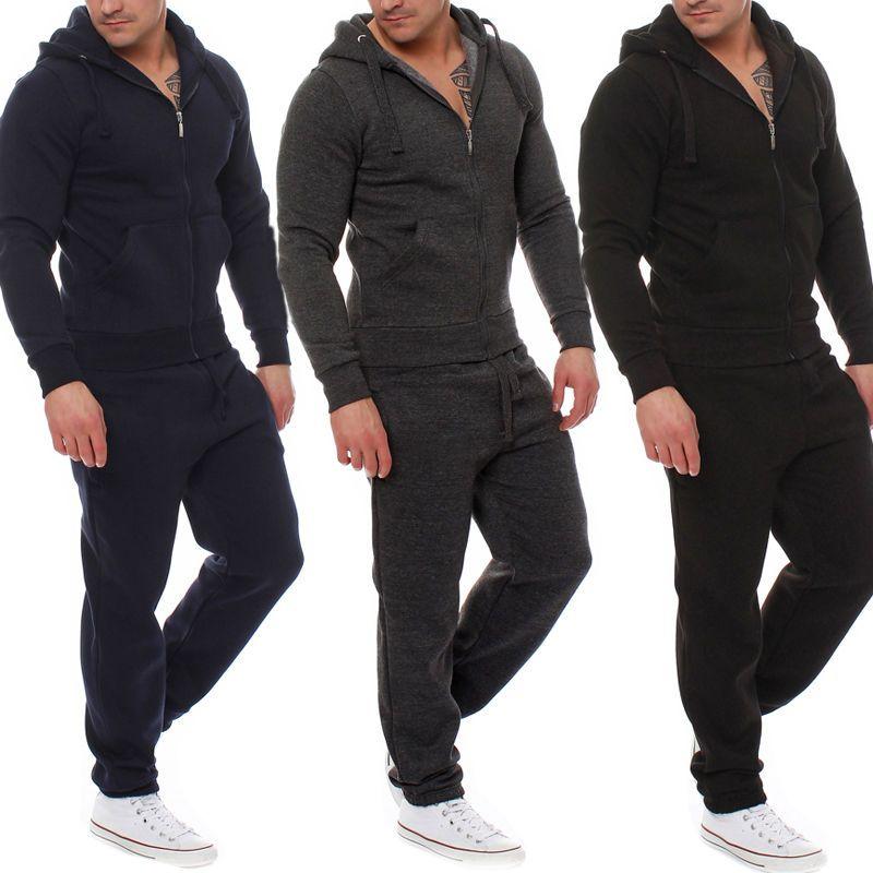 2 PCS Mens Tracksuit Hooded Sweat Suit Clothes Cotton V-Neck Zipper Coat+Pants Black Grey