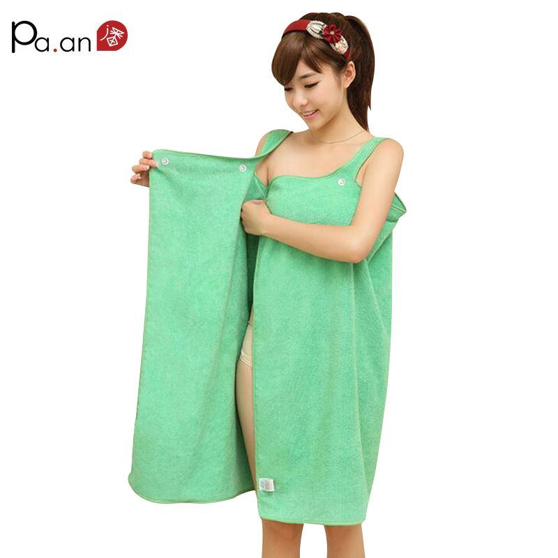Green Microfiber Beach Towel Wearable Small Bath Towels 138x80cm Soft Button Wrap Skirt for Young Girl Women Absorbent Bath Gown