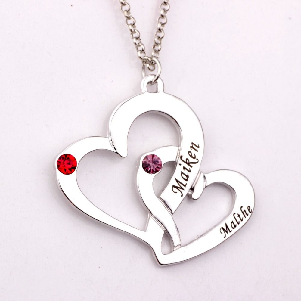 Engraved Two Heart Necklace with Birthstones 2018 New Arrival Long Birthstone Necklaces Custom Made Any Name YP2486