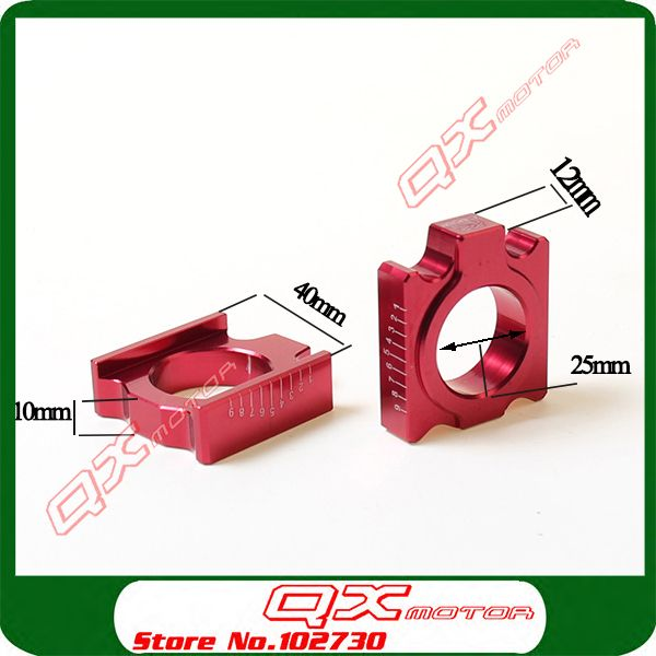 CNC Aluminum Rear Chain Adjuster Axle blocks for CR125/250R CRF250R/250X 450R/450X Dirt bike Motortcycle Motocross free shipping