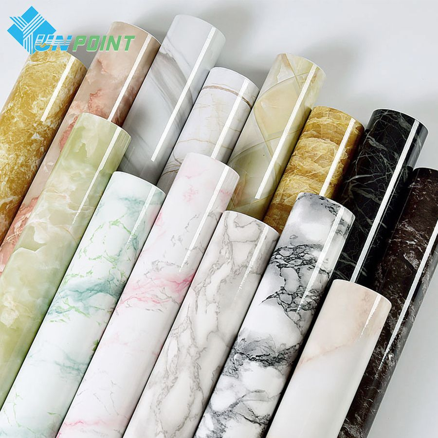 <font><b>Self</b></font> adhesive Marble Vinyl Wallpaper Roll Furniture Decorative Film Waterproof Wall Stickers for Kitchen Backsplash Home Decor
