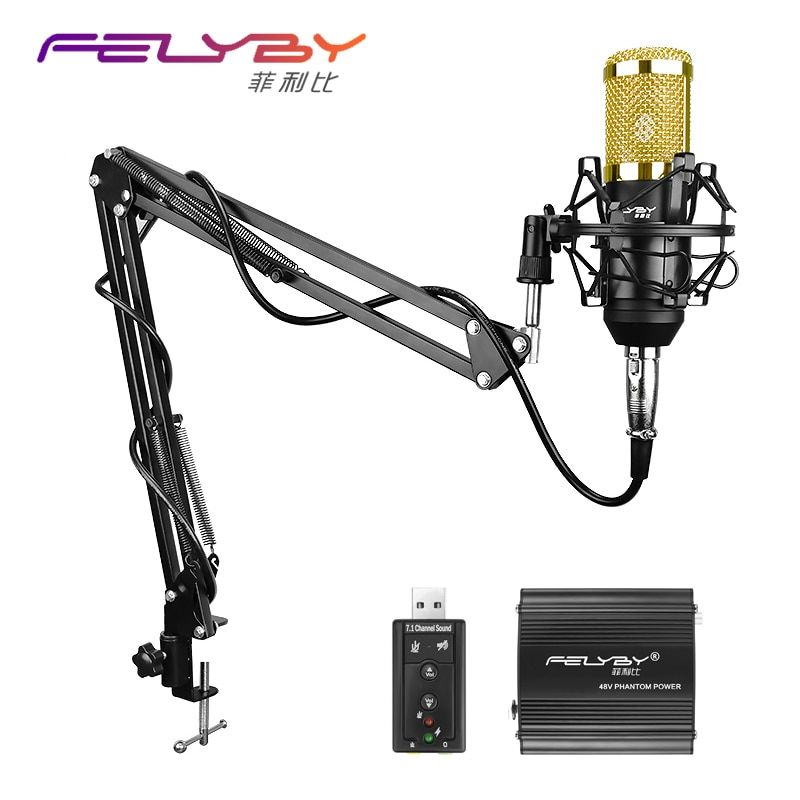 FELYBY Professional Microphone BM 800 Condenser Microphone Pro Audio <font><b>Studio</b></font> Vocal Recording Mic KTV Karaoke Metal Shock Mount