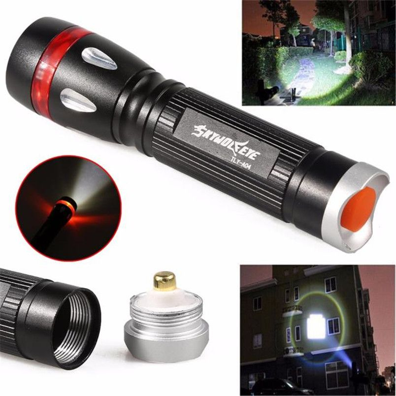 2017 New 3000 Lumens 3 Modes CREE XML LED 18650 Flashlight Torch Lamp Light Outdoor Zoomable wholesales NOM11
