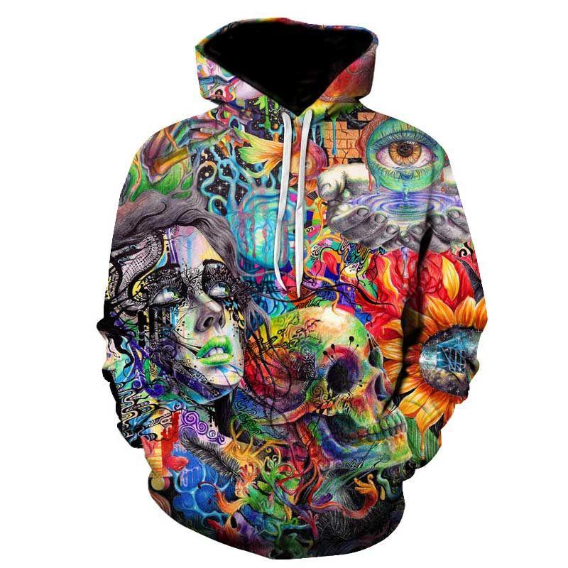 Pintura cráneo 3D impreso Sudaderas hombres mujeres sudaderas con capucha marca 5xl qlity chándales Boy Abrigos moda Outwear nuevo