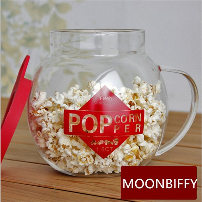 Microwave use borosilicate glass cylinder popcorn popper with double handle