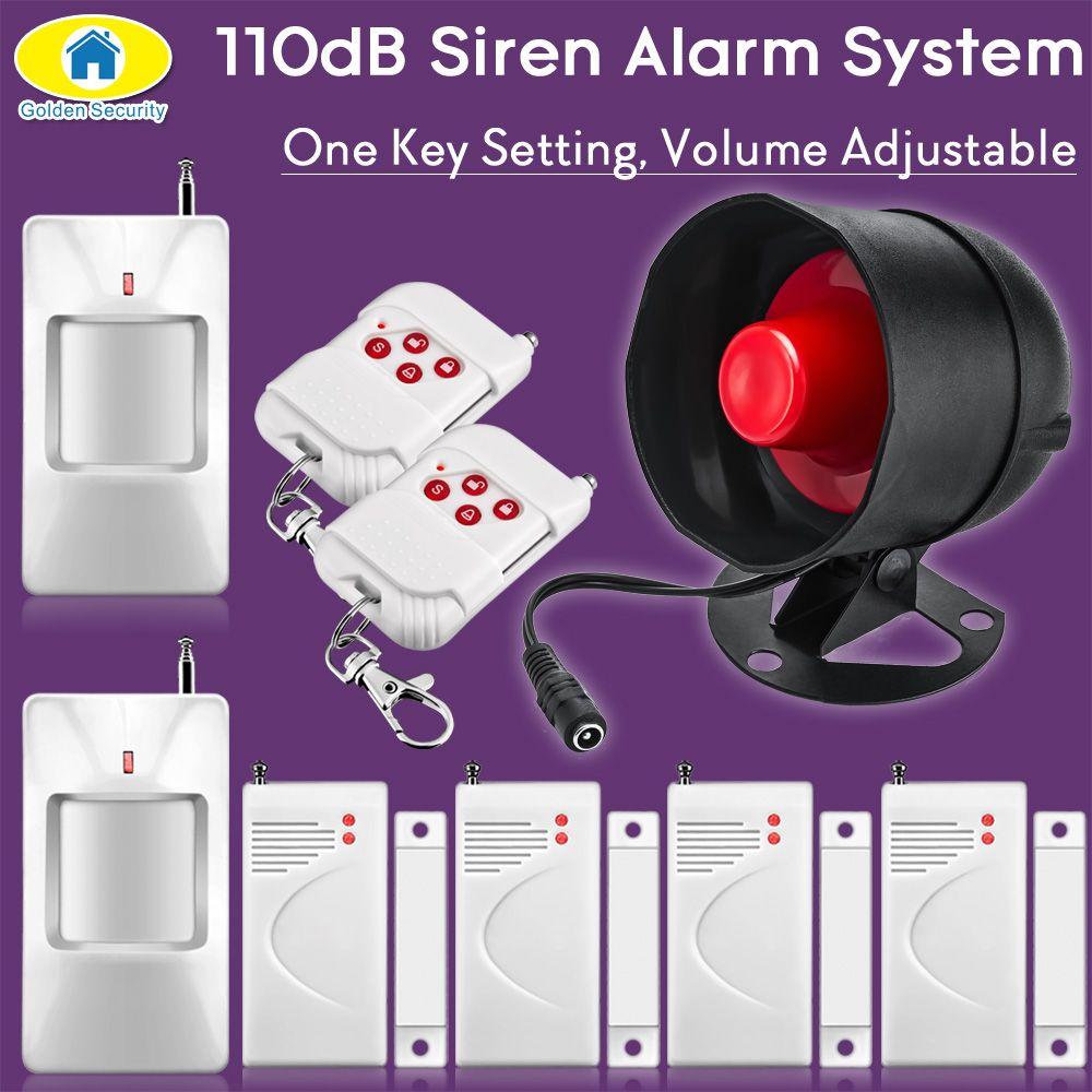 Sécurité dorée 110dB sans fil fort sirène système d'alarme sécurité pour maison maison cambrioleur alarme sécurité PIR détecteur porte capteur