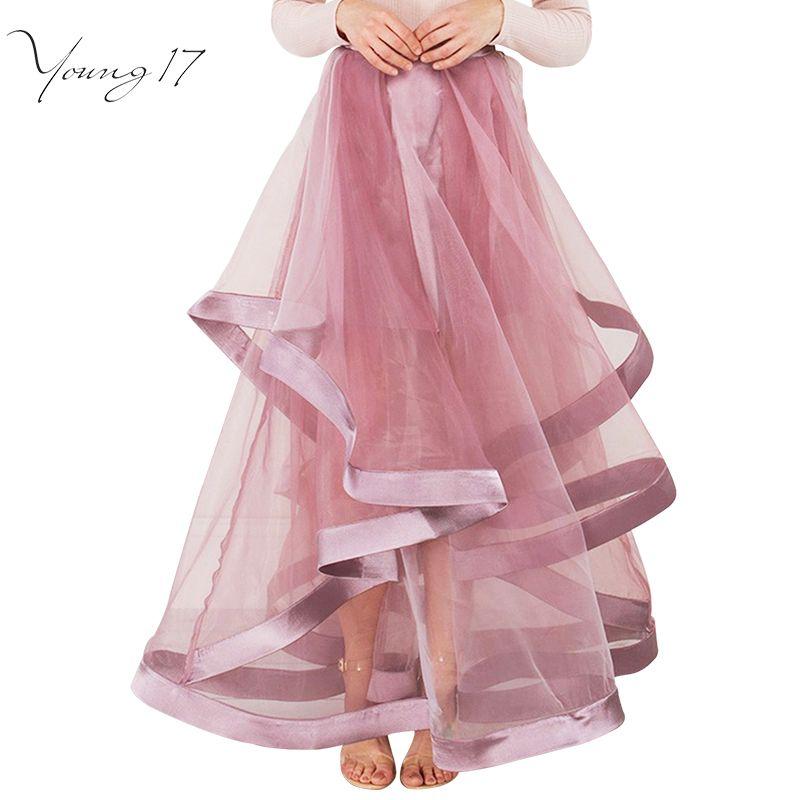 Young17 Piso Longitud de Malla Patchwork vestido de Bola Imperio Organza vestido de Partido de La Falda Falda 2017 de La Moda Elegante Rosa Envuelto Falda Del Soplo