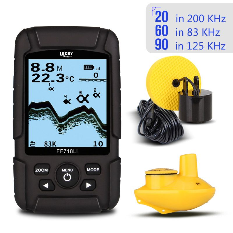 LUCKY FF718LiD Fish Finder Dual Sonar Frequency 60degree 100M Detection Muti-language Depth Detector Real-Waterproof Fishfinder