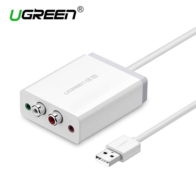 Ugreen 2 RCA USB Soundkarte Audio-Interface 3,5mm USB Adapter zu Lautsprecher Mikrofon für Laptop Computer Externe Sound karte