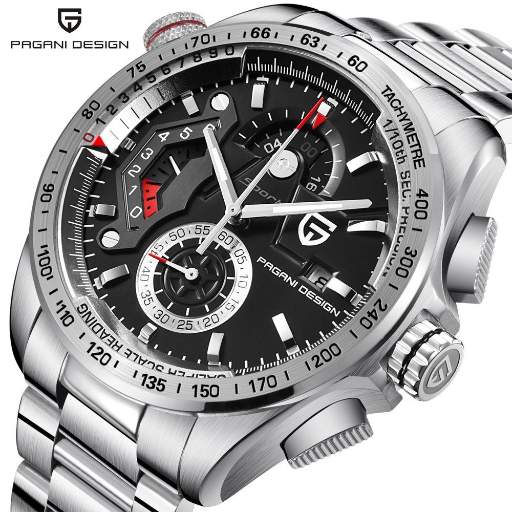 PAGANI DESIGN Full Stainless Steel Chronograph Sport Watches Men Luxury Brand Quartz Watch Dive 30M relogio masculino dropship