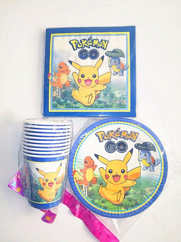 40 шт./лот Детская день рождения с рисунком Пикачу Pokemon 10 Чашки + 10 Тарелки + 20 бумажных полотенец вечер украшения посуда