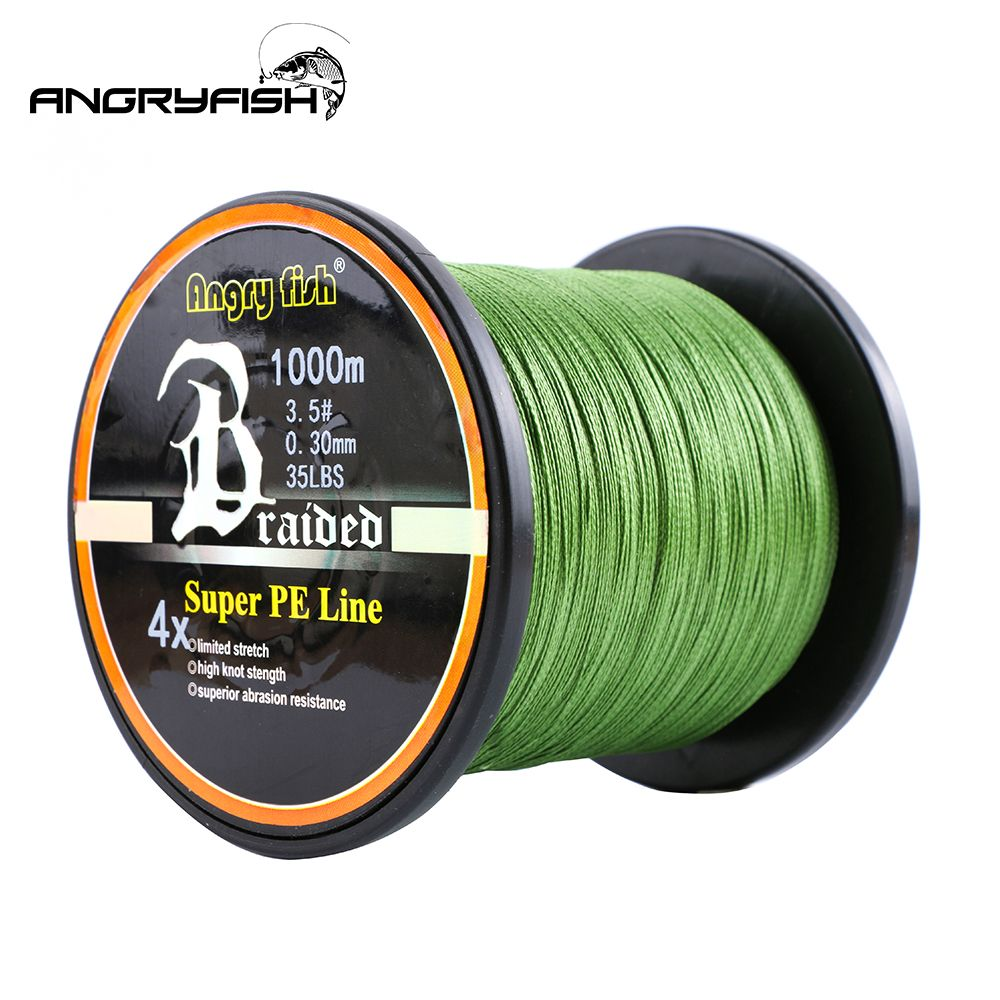 Angryfish vente en gros 1000 m 4x ligne de pêche tressée 8 couleurs Super PE ligne forte résistance