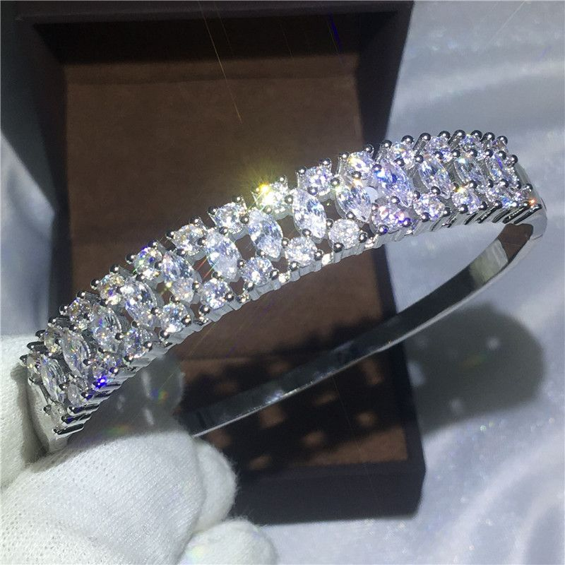 High Quality Sparkling Bridal bracelet AAAAA Zircon Cz White Gold Filled Engagement Bangle for women wedding accessaries Jewelry