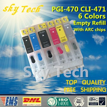 6PK Empty Refillable Cartridges suit for PGI470 CLI471, Suit for canon PIXMA MG5740  MG6840  MG7740  ,with ARC chips