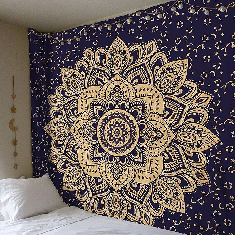 2018 Mandala Polyester 150*150 CM carré tapisserie tenture murale tapis jeter tapis de Yoga pour la décoration de la chambre à coucher à la maison