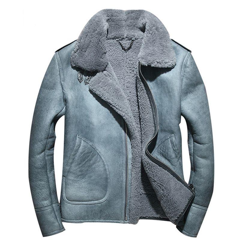 2018 Blue Men Biker Shearling Leather Jacket Plus Size XXXXL Winter Thick Slim Fit Genuine Russian Shearling Coat FREE SHIPPING