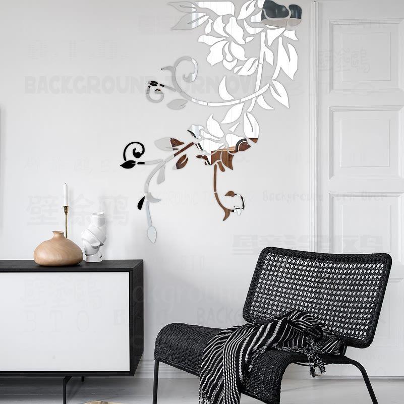 Bricolage printemps nature frais vif plante miroir décoratif mur autocollant pour chambre décor entrée mur décorations salon R049