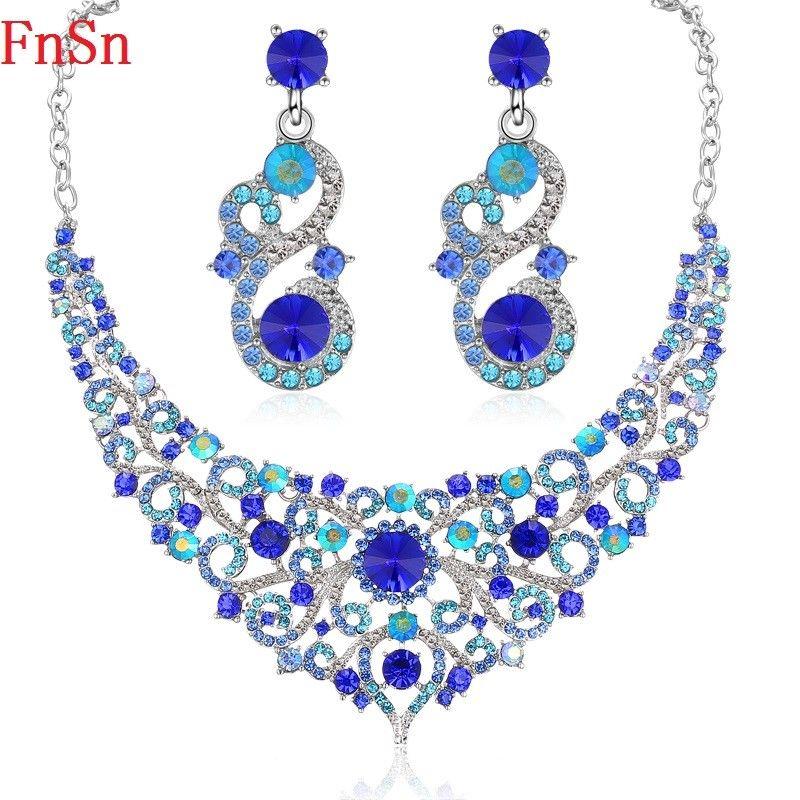 FnSn Nueva Moda Cristal Aretes Collar de Conjuntos de Colores del Banquete de Boda Rhinestone Collar Pendiente de La Joyería Regalo de Las Mujeres S134