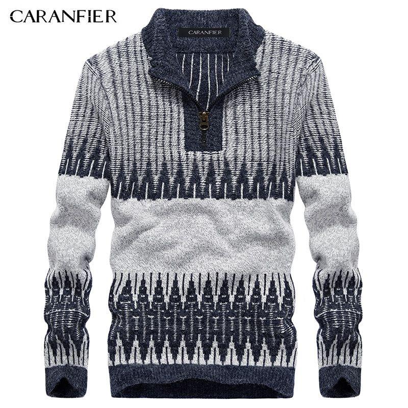Caranfier зима Для мужчин трикотажный пуловер Мужской молнии хлопок свитер для повседневной носки водолазка О-образным вырезом Slim Fit Для мужчин ...