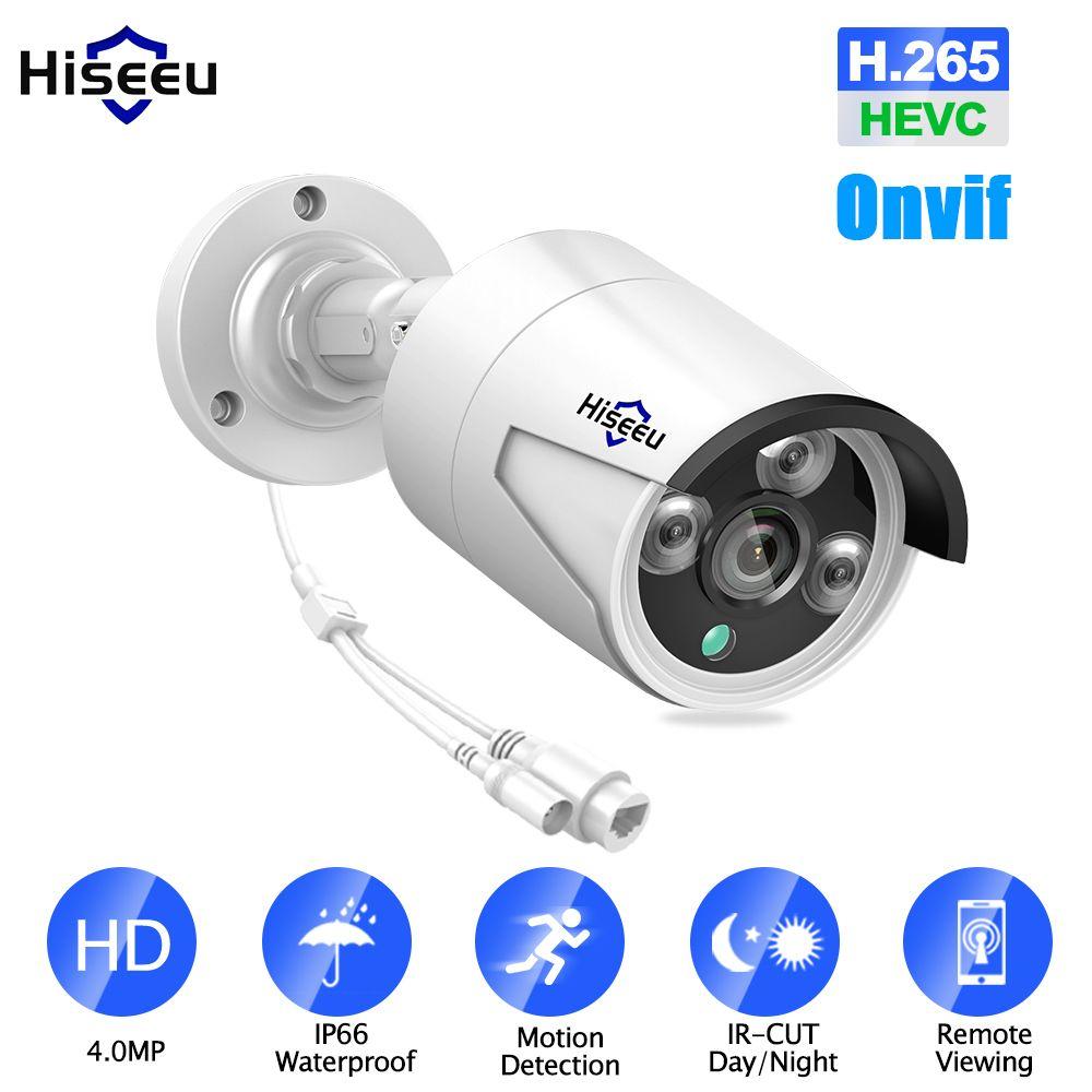 Hiseeu H.265 Security IP Camera POE 4MP ONVIF Outdoor Waterproof IP66 CCTV Camera P2P video surveillance home security 48V PoE