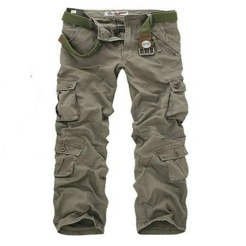2017 Spring & autumn Men's Loose Multi-Pocket Camouflage Pants Men Casual Cotton Straight Washed-Pocket Pants Male Trousers 40