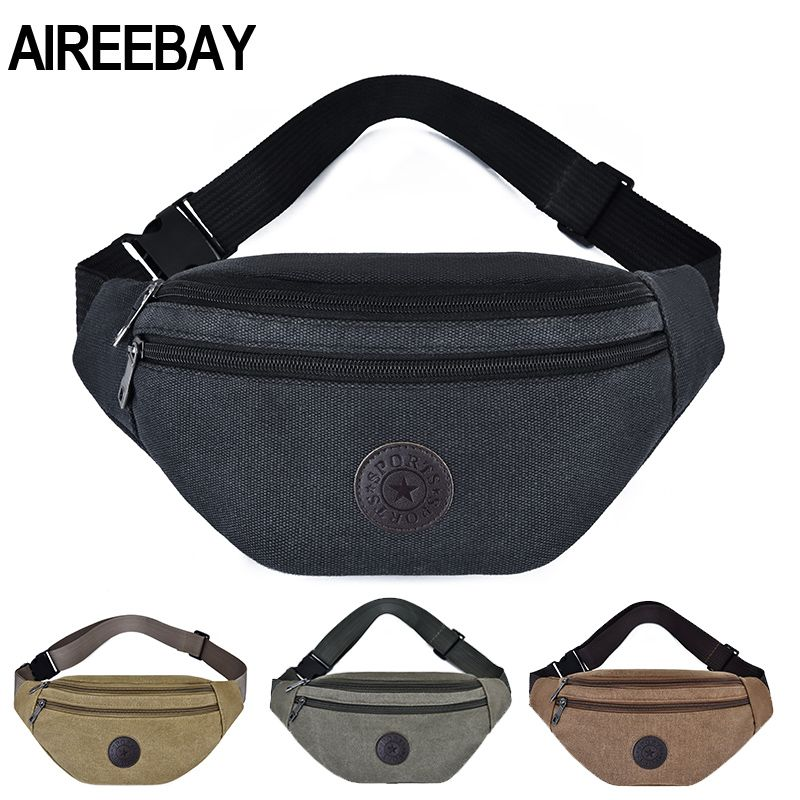 AIREEBAY Men Big Fanny Pack Canvas Waist Pack Multifunction Outdoor Chest Bag Women Black Bum Travel Bag with Three Pockets